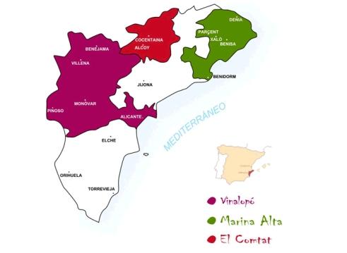 Map wine region of Alicante