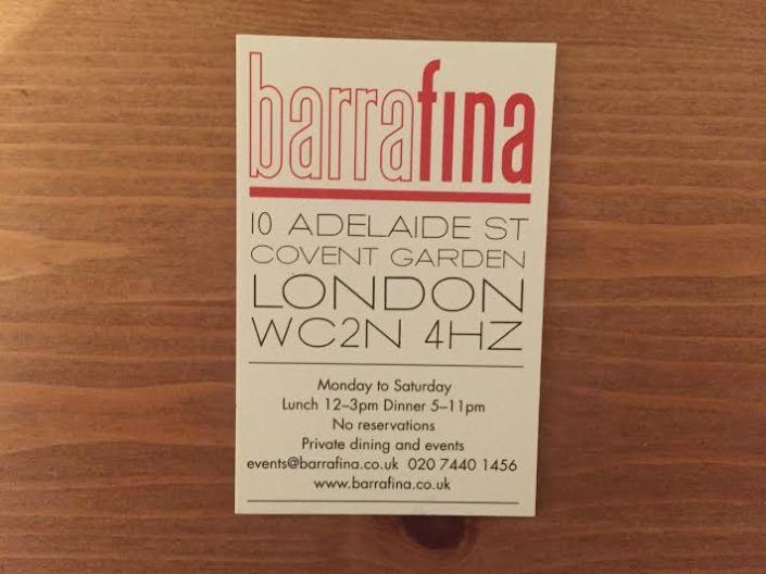 Barrafina card